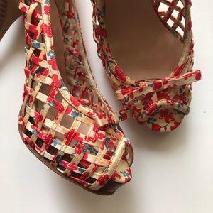 Aldo Red Open Toe Basket Weave Wooden Heel